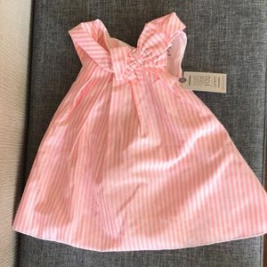 Pink and white striped dress with bloomers